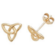 9ct gold Triquetra stud earrings
